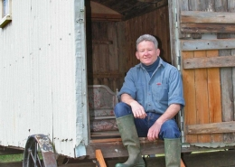 David Morris at the door of a shepherd's hut